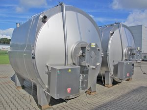 stainless steel tank - 17500 litre - horizontal - lower half jacketed