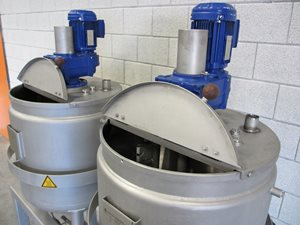 2x 200 litre jacketed tank with scraped gate agitator