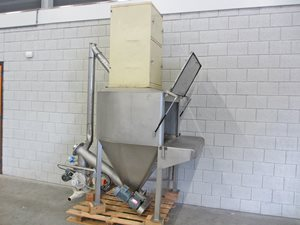 Bag dump station with dosing valve and dust filter