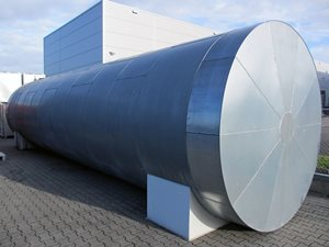 50,000 liter storage tank with heating coil and insulation